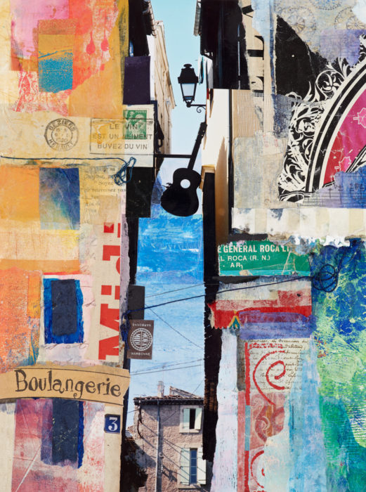 French street scene in paper collage