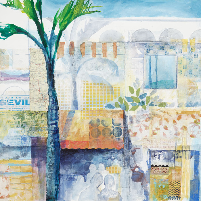 Paper collage on canvas of Cafe Seville