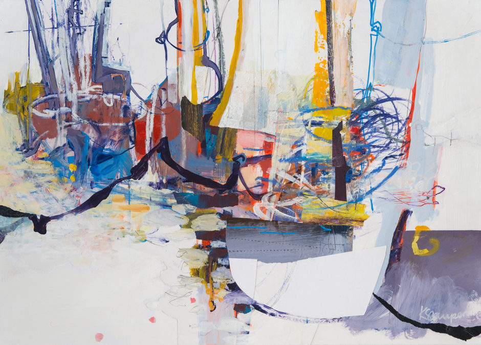 Scribbly marks, boats and yachts on water