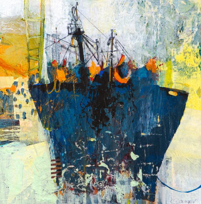 dark ship acrylic collage
