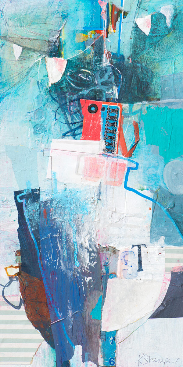 abstracted boat blue acrylic