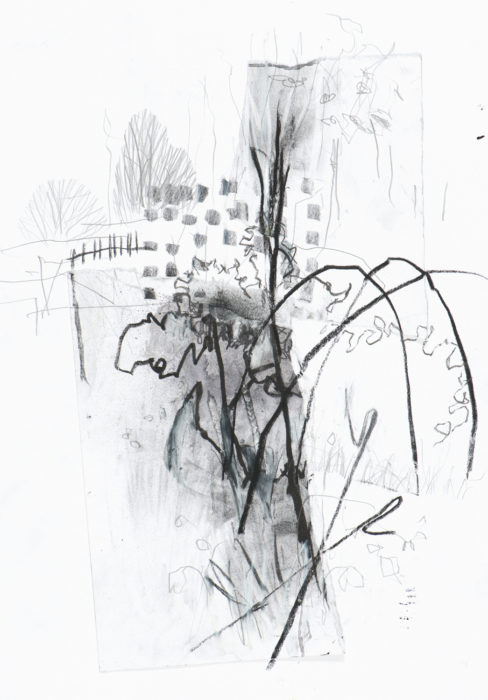 expressive black and white drawing