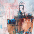 rusty ship collage painting
