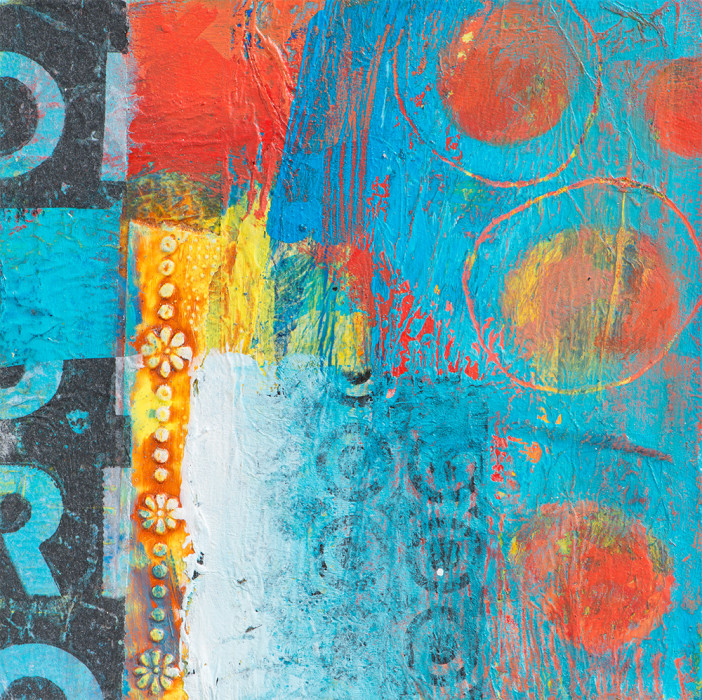 dramatic energetic abstract mixed media with lettering