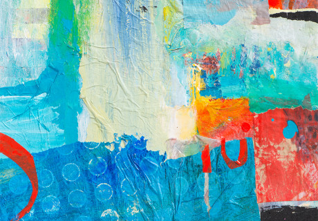 bold dramatic abstrct blue with zingy reds