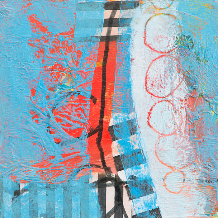 blue and red bold abstract with vertical stripe