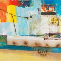 abstrcted boat mixed media
