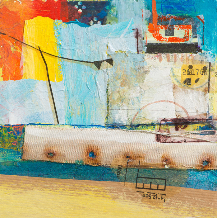 abstrcted boat mixed media
