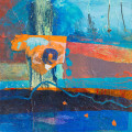 abstracted abstrct in blues and orange