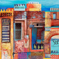 very detailed patchwork of moroccan buildings, mixed media