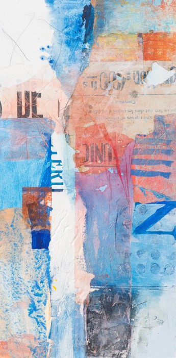 abstracted mixed media collaged paper shapes and letters in blues and orange