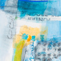 abstracted mixed media collaged paper shapes and letters in blues and yellow