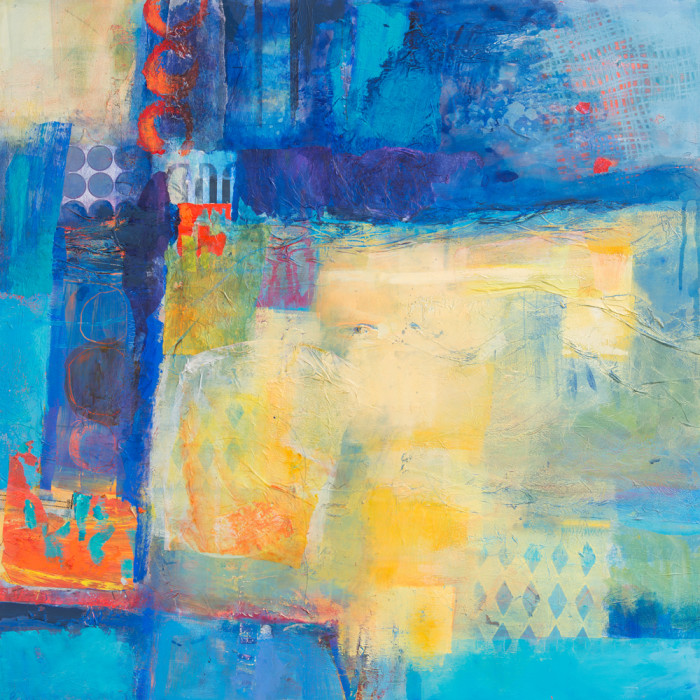 bold abstracted mixed media collaged paper shapes in blues and yellows