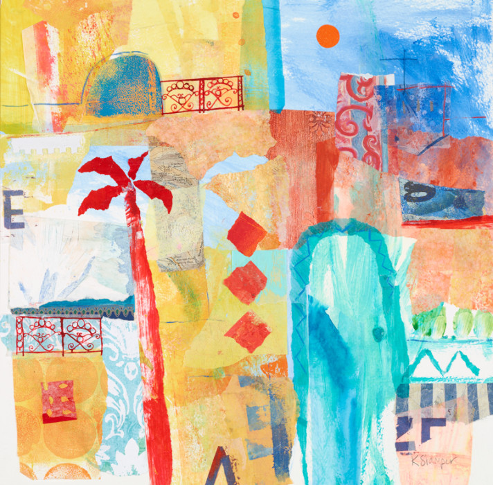 yellows, oranges and blues abstracted buildings and palm tree