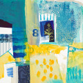 blue and yellow abstracted mixed media buildings and sea